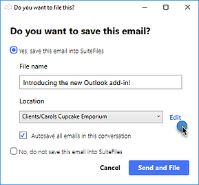 Outlook Native Edit Location