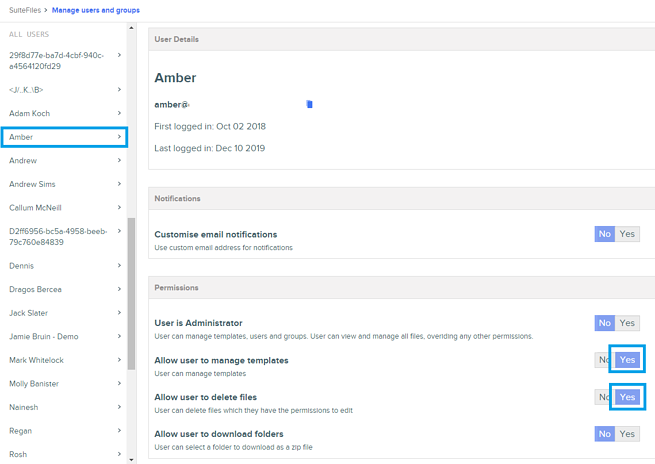 manage user and groups