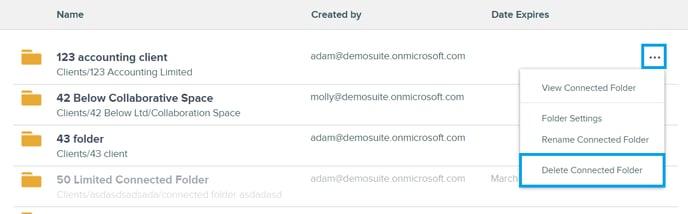 delete connected folder